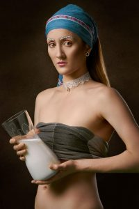 woman with milk can