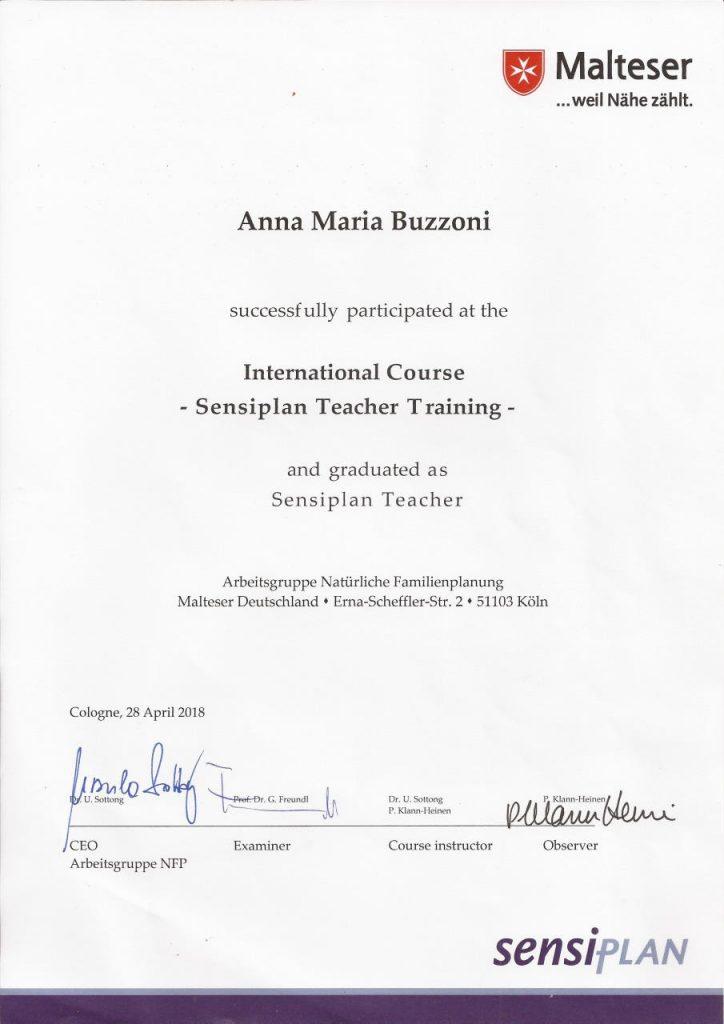 Anna buzzoni is a certified Sensiplan teacher