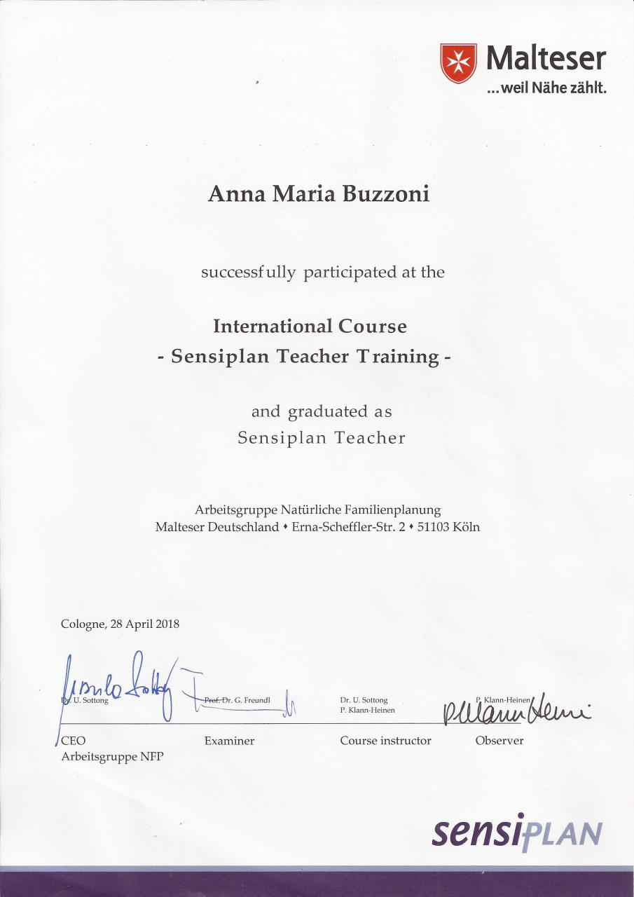 Anna buzzoni is a certified Sensiplan teacher